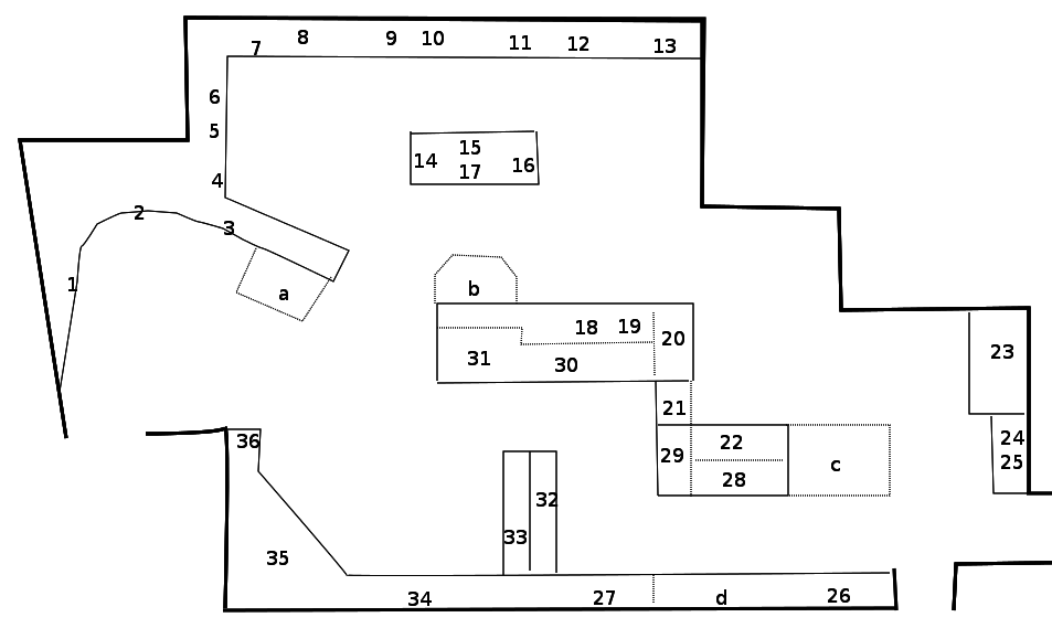 Plan of gallery with display cases numbered